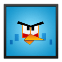 Blue Angry Bird Black Frame-128