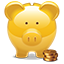 Piggy Bank golden icon