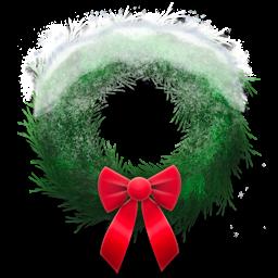 Holiday wreath snowy