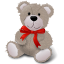 Teddy Bear Red Ribbon Icon
