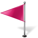 Map Marker Flag 1 Left Pink-128