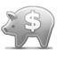 Piggy Bank grayscale icon