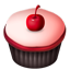 Cupcakes cherry pink icon