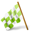 Map Marker Chequered Flag Left Chartreuse Icon