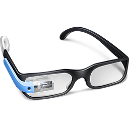 Blue Google Glasses Icon Download Google Glass Icons Iconspedia