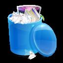 Blue recycle bin full-128