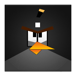 Black Angry Bird Frameless