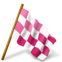 Map Marker Chequered Flag Right Pink-128