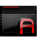 Folder Fonts black red-128