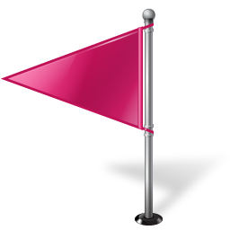 Map Marker Flag 1 Left Pink