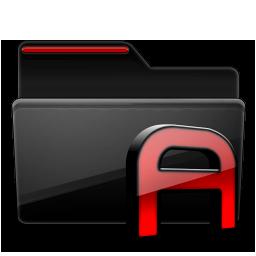 Folder Fonts black red