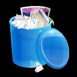 Blue recycle bin full