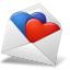 Mail Envelope Hearts BlueRed icon