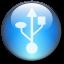 Symbol USB Circle LightBlue Icon