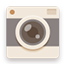 Camera flat brown icon