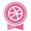 Dribbble Round Ribbon icon