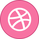 Dribbble Round With Border-128
