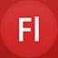 Flash flat circle icon