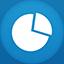 Graph flat circle icon
